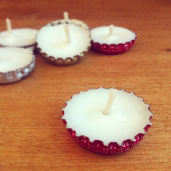 Bottle cap candles. Perfect for camping or evening on the patio