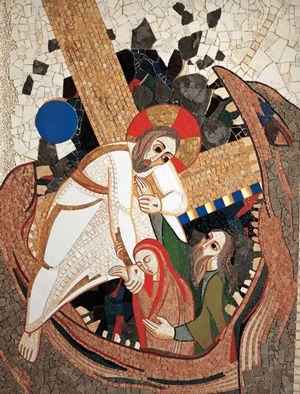 """9.""""Szatan mój przeciwnik"""" (wycinek z ludzikiem na tle fragmentu paszczy) El descenso de Cristo a los infiernos"""