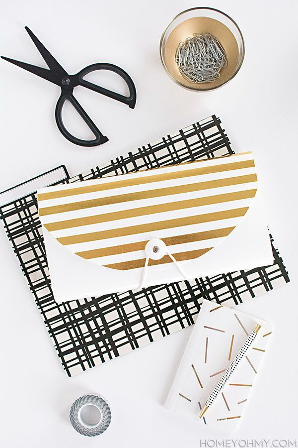 DIY Gold Striped File Folder - Homey Oh My!
