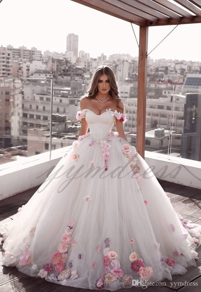 Elegant Wedding Dresses 2019 Off Shoulder Lace Up Back Sweep Train