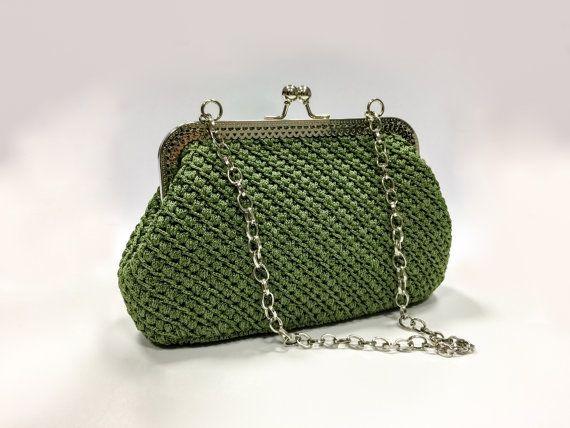 Borsa verde uncinetto, pochette uncinetto, portamonete, borsa vintage, pochette vintage, borsa per Natale, pochette Natale, Natale uncinetto