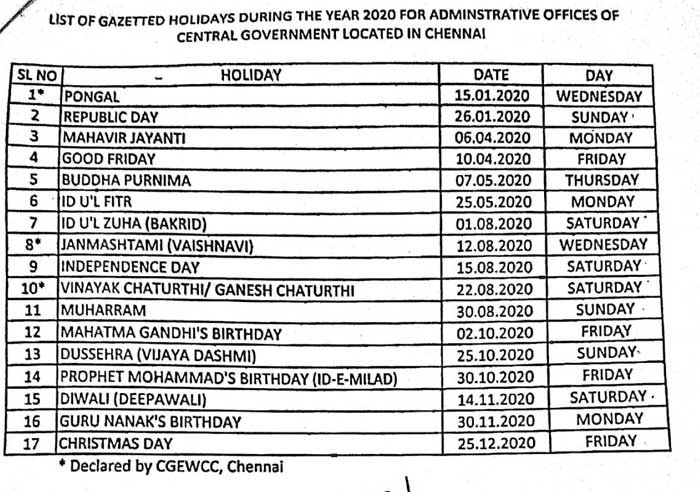 Postal Department Holidays 2020 Central Government Government Administration