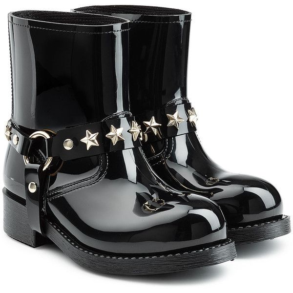 RED Valentino Shiny Rubber Boots ($185) ❤ liked on Polyvore featuring shoes, boots, black, chunky-heel boots, black shoes, rubber rain boots, black rain boots and studded rain boots