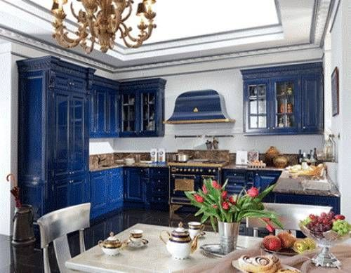 New Kitchen Design 2012 With Blue Cabinets Color