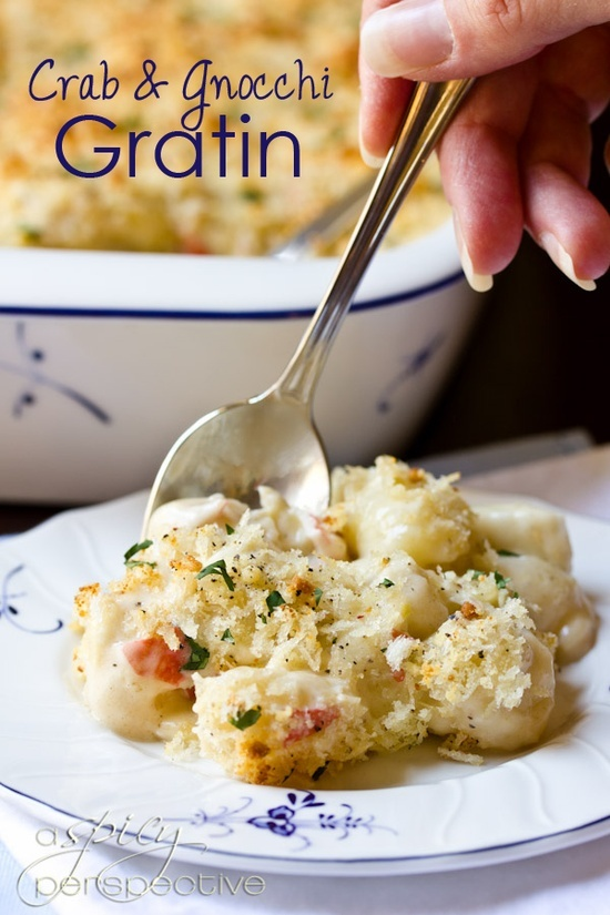 Crab Mac and Cheese Recipe: Classic Gnocchi Gratin with Gruyere, Havarti and Crab Meat. Sounds so yummy!