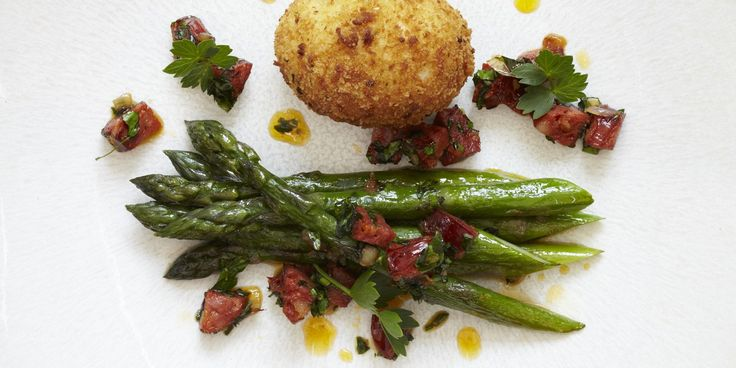 A crispy deep-fried egg is paired with asparagus, chorizo and lovage in this wonderful springtime starter from James Mackenzie