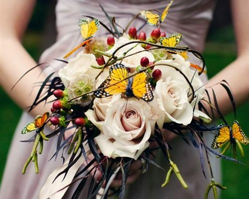 Gorgeous Butterfly Wedding Ideas - Wedding Obsessions | The Knot bouquet butterflies.