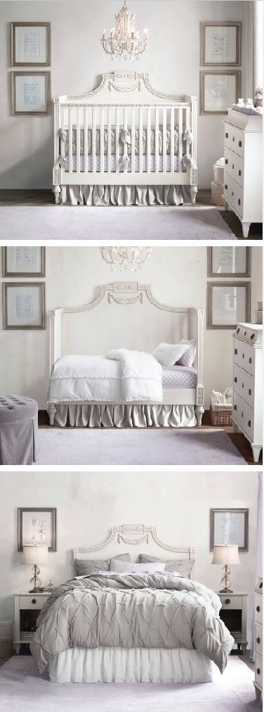 Baby Conversion Crib ❤︎ crib converts to toddler bed, and back piece can become headboard after that. Now this sounds like a great investment. #baby #furniture