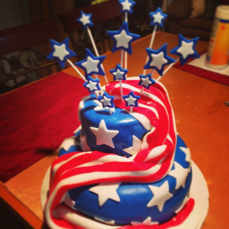 """American Flag Cake"" made for friends Birthday. Used Michelle foster's fondant recipe. Added sparklers when bringing to party"