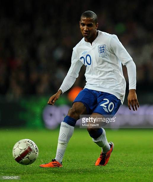 Ashley Young of England in action during the International Friendly match between Denmark and England at Parken Stadium on February 9 2011 in...