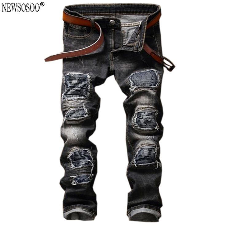 37.55$  Know more  - Newsosoo Brand men's fashion ripped biker jeans slim straight patchwork stretch jeans male pantalones vaqueros hombre MJ88