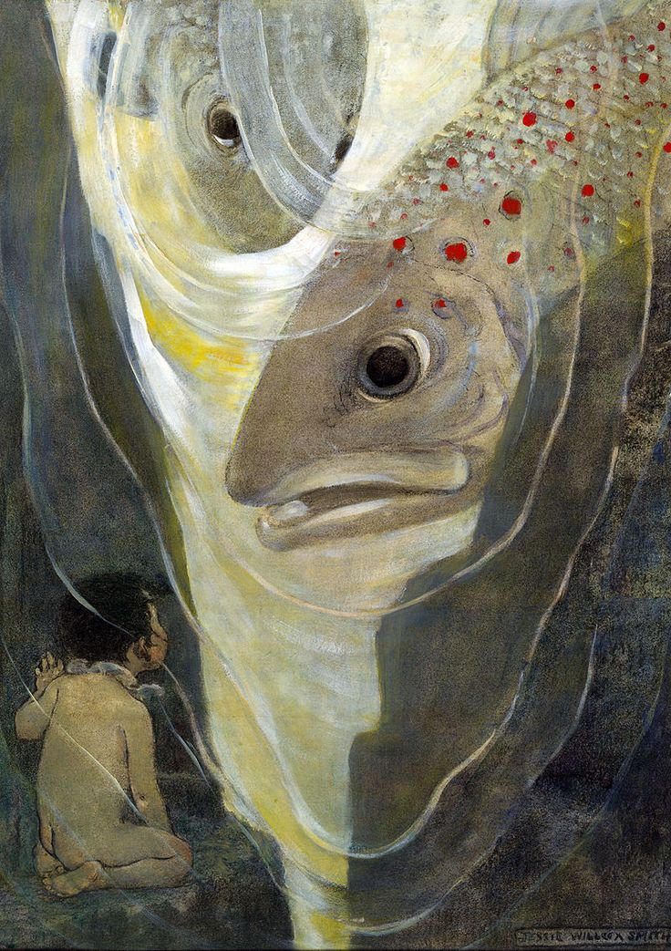 """""""'Oh, Don't Hurt Me!' Cried Tom. 'I Only Want to Look at You; You Are So Handsome'"""" (ca.1916) A charcoal/watercolor/oil painting by Jessie Willcox Smith — Publ. in """"The Water Babies"""" by Charles Kingsley. NY : Dodd, Mead & Co., 1916, p. 140 