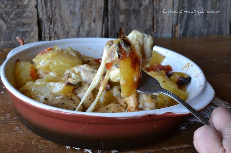 Pollo patate e scamorza al forno