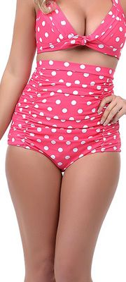 My kind of swimsuit! Unique Vintage Pink & White Polka Dot Monroe High Waist Bikini Bottom