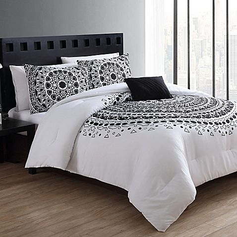 Create a modern, trendy space with the Tessa Comforter Set from VCNY. In white, the bold set brings understated style to your space with a large round medallion of intricate shapes and patterns in black. Matching sham and throw pillow complete the look.