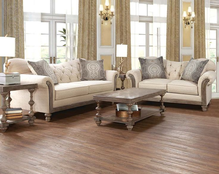 Cream Sofa Set with Tufting, and Wood | Siam Parchment Sofa & Loveseat | American Freight