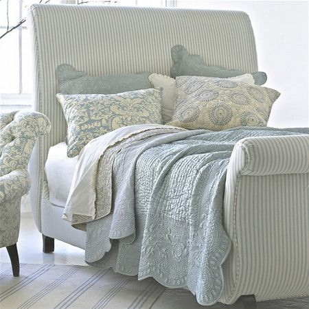 Cottage ♥ Linen Upholstered Bed