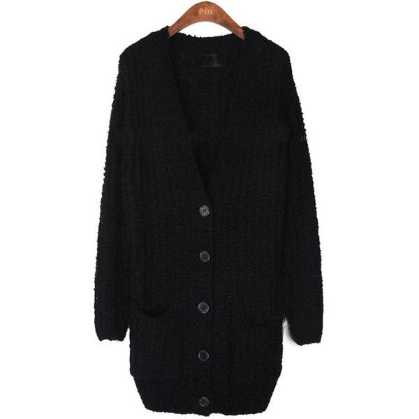 Black Long Sleeve Pockets Cardigan Sweater (675 ZAR) ❤ liked on Polyvore featuring tops, cardigans, embellished top, short-sleeve cardigan, v neck long sleeve top, embellished cardigan and patterned tops