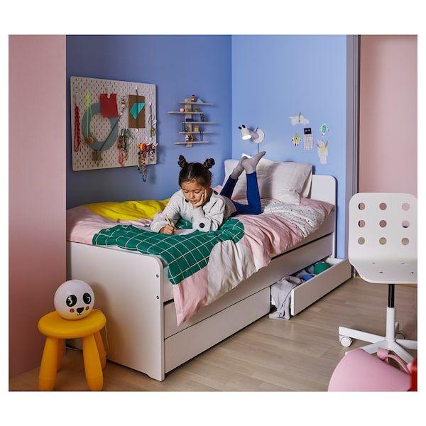 Slakt Bed Frame W Pull Out Bed Storage White Twin Mit Bildern