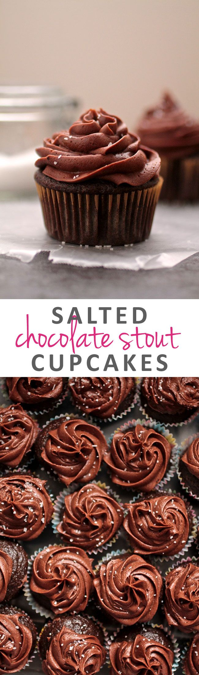 Salted Chocolate Stout Cupcakes | A classic chocolate cake recipe gets a makeover with rich chocolate stout and easy chocolate buttercream frosting topped with flakey sea salt.