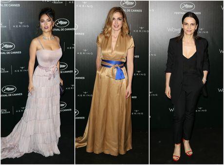 DIAPO Cannes 2016: Salma Hayek très glam', Julie Gayet chic et Juliette Binoche très décolletée pour la soirée Kering!
