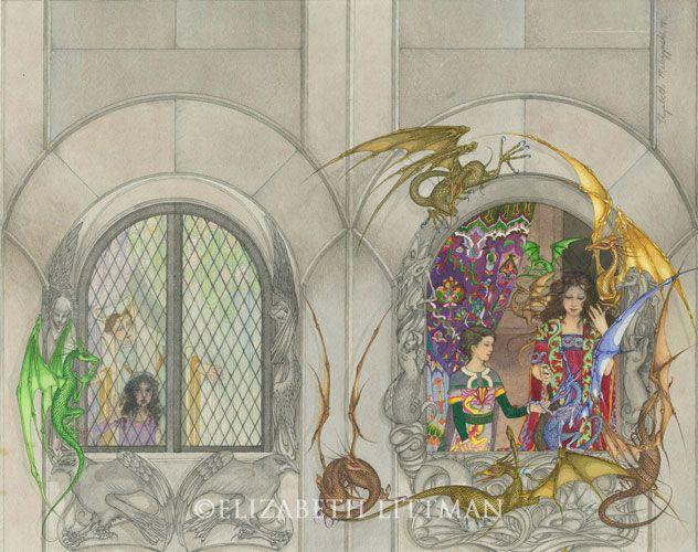 Elizabeth Malczynski Littman's cover art for Dragonsinger depicts Piemur, Menolly and Menolly's fair of fire lizards.
