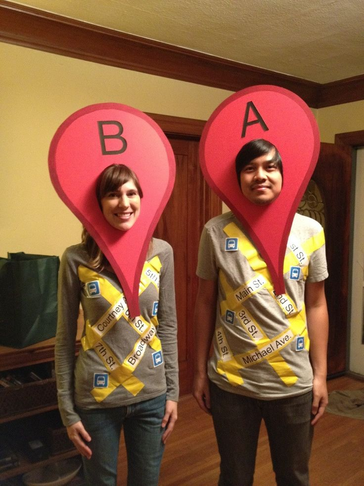 "Google Maps Costume.... But when I looked at it I thought they were going as their blood type, and I thought to my self, ""that's a silly costume Alyssa. Why would they do that."""