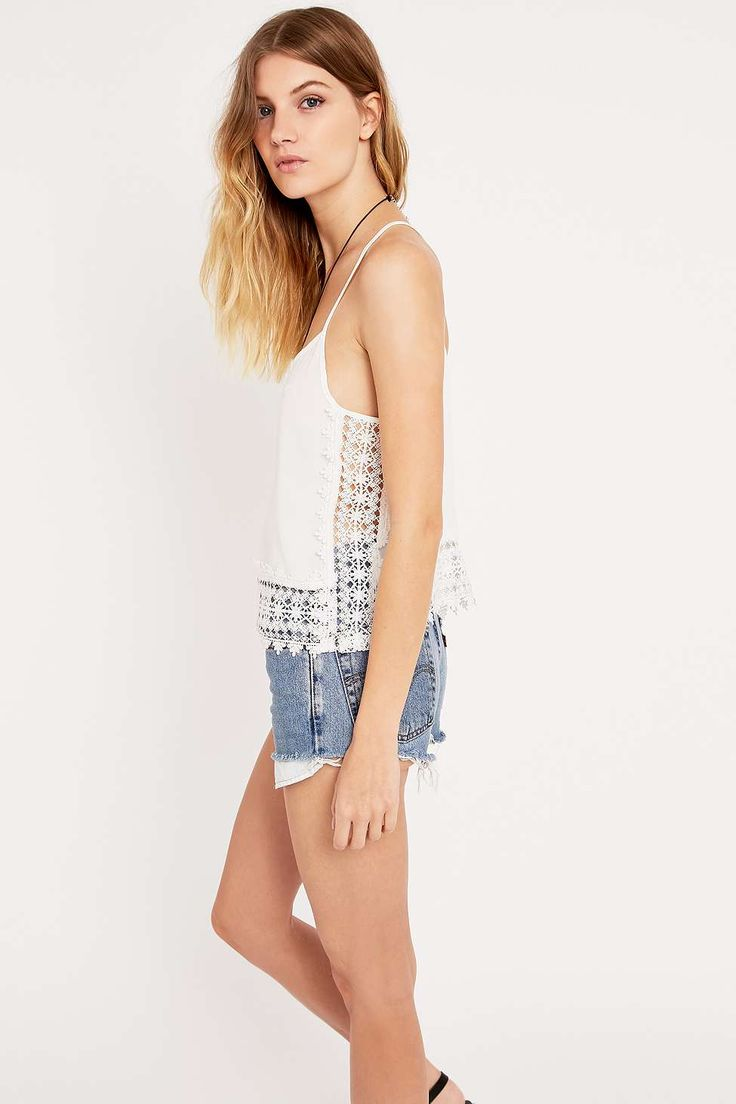 Pins & Needles Crochet Side Cami Top in Ivory