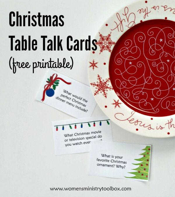 Christmas Table Talk Cards (Free Printable) - Fun Christmas-themed questions to get your group/guests talking! Post includes 10 ideas for using table talk cards. From Women's Ministry Toolbox.