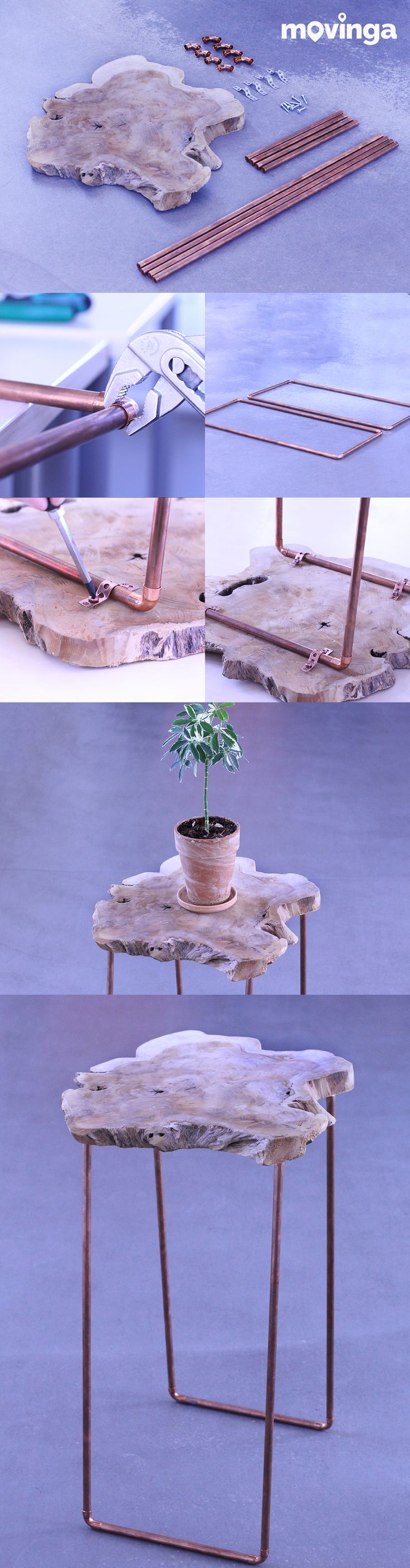 Build an easy DIY table with copper pipes and a wooden plate on a budget. Looks super cool and brings some industrial flair into your new apartment. Please repin if you like our post :)