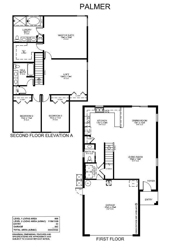 A 1964 sq ft two story floor plan with 3 bedrooms 2 5 for 2 story house plans master bedroom downstairs