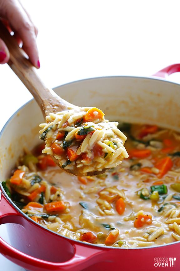 Italian Orzo Spinach Soup   gimmesomeoven.com #recipe