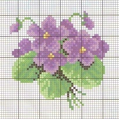 miniature needlework chart (DMC 550,553,554,726,972,3348,389,988,987,936) …