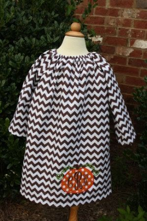 Chocolate chevron peasant dress with pumpkin applique and monogram