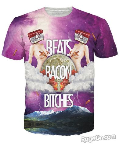 Beats Bacon Bitches T-Shirt - Rage On! - The World's Largest All-Over Print Online Retailer