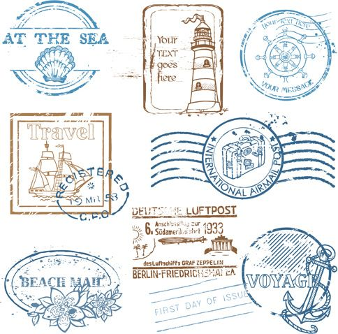various travel stamps