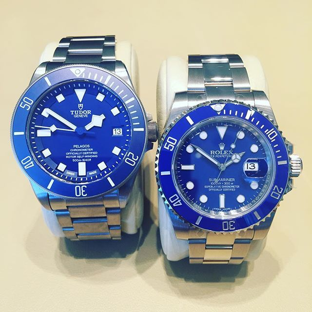 Tudor Pelagos Blue & Rolex Submariner Blue.
