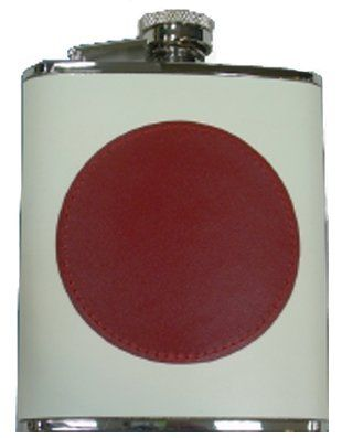 Simran HFFS-6198 Ajmer 6 oz. Japanese Flag Genuine Leather Stainless Steel Flask by Simran. $22.64. Great Gift Idea.. Features a metal-hinged captive top. Corrosion resistant stainless steel. Japan flag genuine leather stainless steel flask 6 oz.. The perfect gift for the traveler or outdoor sports enthusiast. Japan flag genuine leather stainless steel flask 6 oz.  The perfect gift for the traveler or outdoor sports enthusiast  Corrosion resistant stainless steel Fea...
