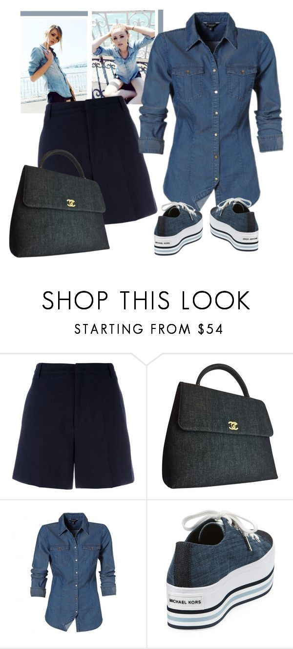 """""""maxi denim bag chanel"""" by bodangela ❤ liked on Polyvore featuring Maison Kitsuné, Chanel and MICHAEL Michael Kors"""