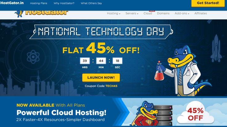 HostGator India - 45% Off- http://goo.gl/OkffH5 Tech Day Sale. Save 45% on Hosting. Offer Ends 11th May'16. Types: Windows Hosting, Linux Hosting, Reseller Hosting, Dedicated Server, VPS Hosting, Website Hosting