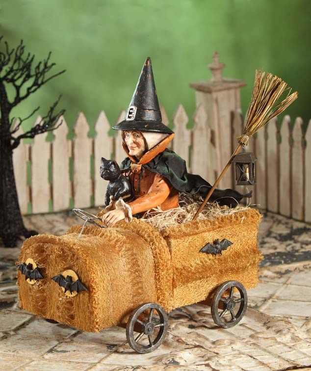 witch in sponge car bethany lowe - Miniature Halloween Decorations