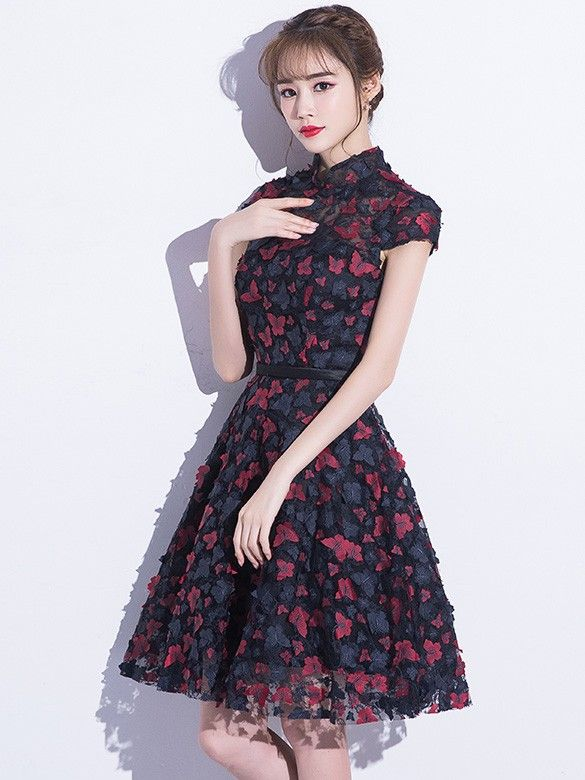 A-line Blue Lace Qipao / Cheongsam Dress with Butterfly Appliques
