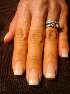 Natural nails with pink and white gel overlay