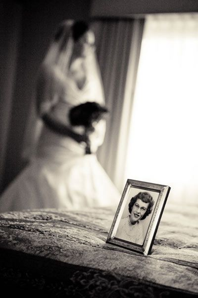 Photo tribute of lost loved ones at a wedding