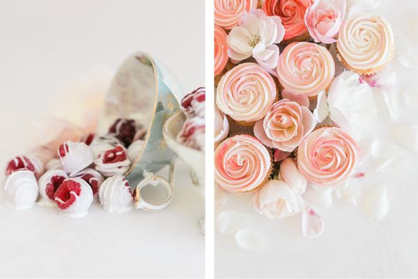 Rose Cupcakes and White Chocolate Dipped Berries by LaurenConrad.com