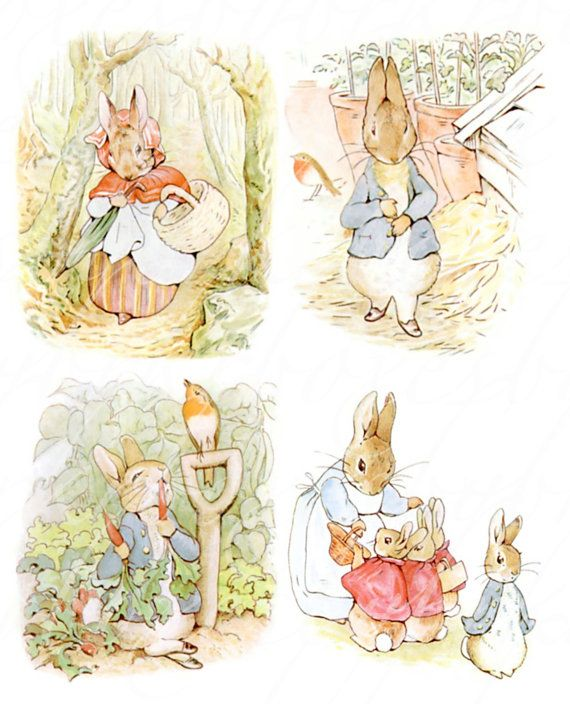 16 large Peter Rabbit images, 4.25 X 4.25 to 5 inches, printable download for paper crafts  --  no. 540 on Etsy, $3.75