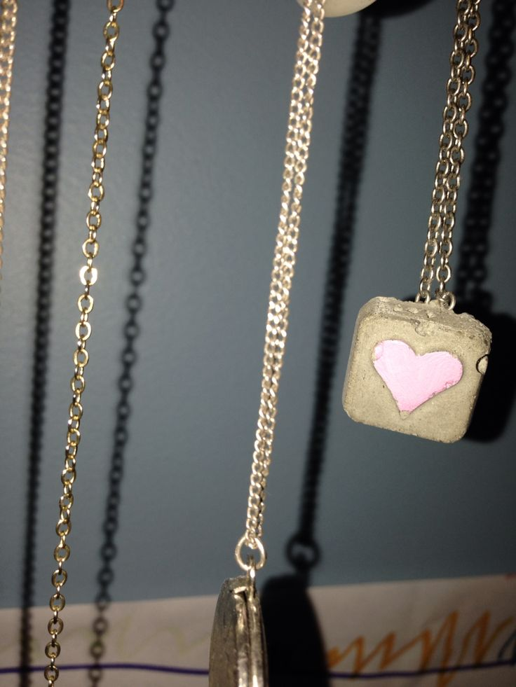 Pink heart concrete jewels