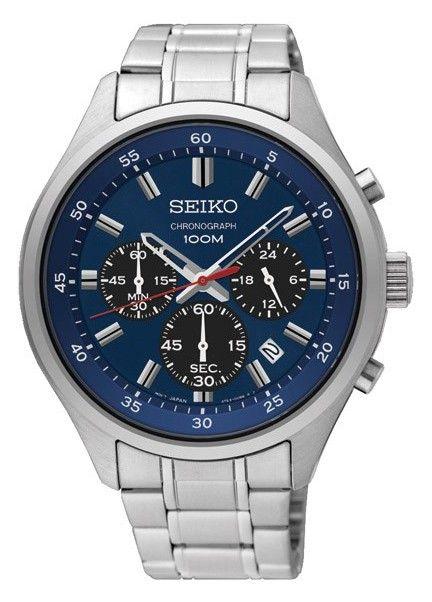 Seiko herenhorloge Chronograaf staal-blauwe wijzerplaat SKS585P1. Stoer en sportief vormgegeven Seiko herenhorloge met chronograaffuncties. De zilverkleurige, stalen kast is voorzien van een donkerblauwe wijzerplaat met rode secondenwijzer en datumaanduiding. Het horloge is 100 meter waterdicht. Nu verkrijgbaar voor een speciale actieprijs van 139 euro i.p.v. 219 euro. Zolang de voorraad strekt.