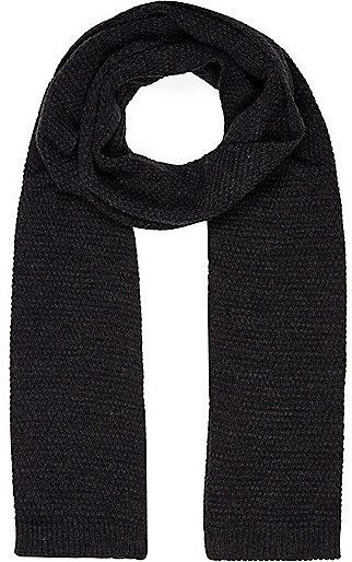 $28, River Island Grey Knitted Scarf. Sold by River Island. Click for more info: https://lookastic.com/men/shop_items/321782/redirect