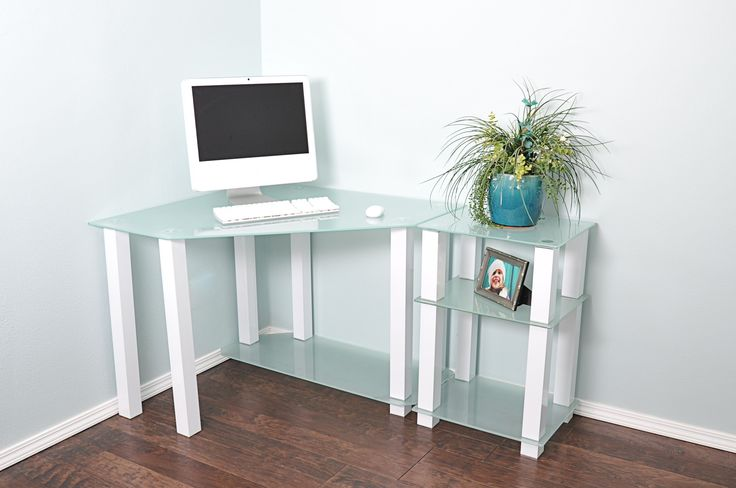 White Lines Corner Computer Desk with Right Extension Table